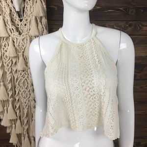 AEO | Cropped Halter Lace Knit Tank Top